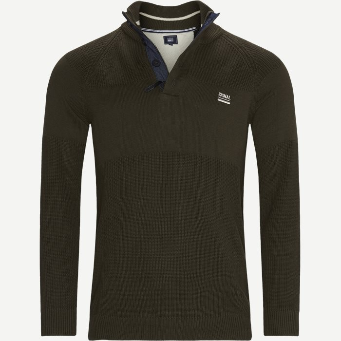 Stan Half-Zip Sweater  - Knitwear - Regular - Army